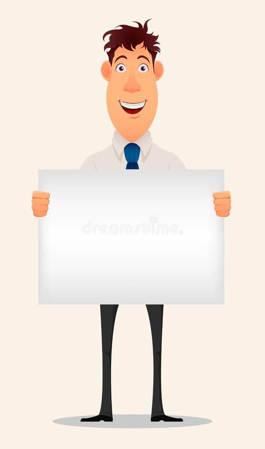 Uomo d'affari sorridente in camicia e pantaloni dell'ufficio che tengono segno in bianco illustrazione vettoriale