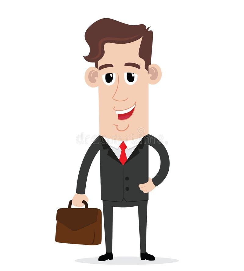 Uomo d'affari sorridente che tiene una valigia illustrazione di stock