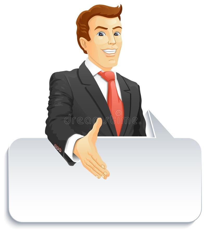 Uomo d'affari sorridente con il fumetto illustrazione vettoriale