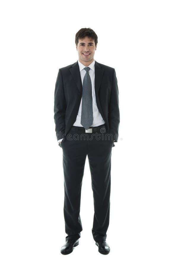 Uomo d'affari sorridente con le sue mani in caselle fotografie stock