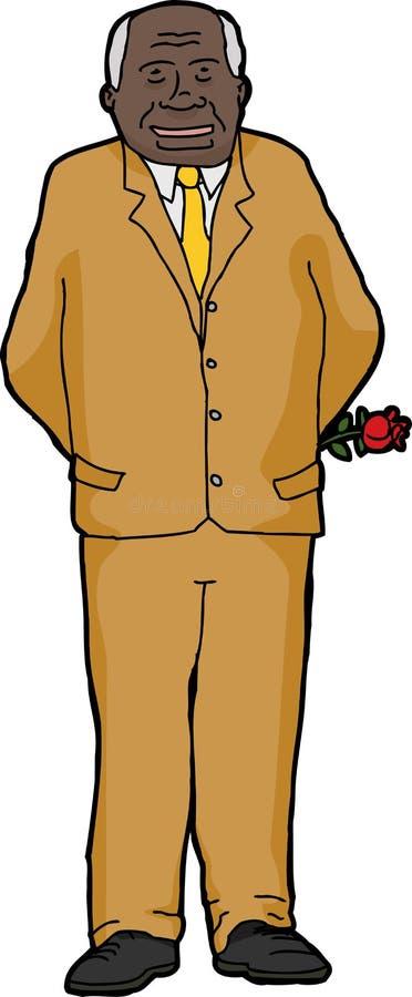 Uomo d'affari sorridente con Rosa illustrazione vettoriale