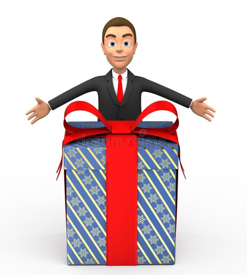 Uomo d'affari sorridente con un regalo immagini stock