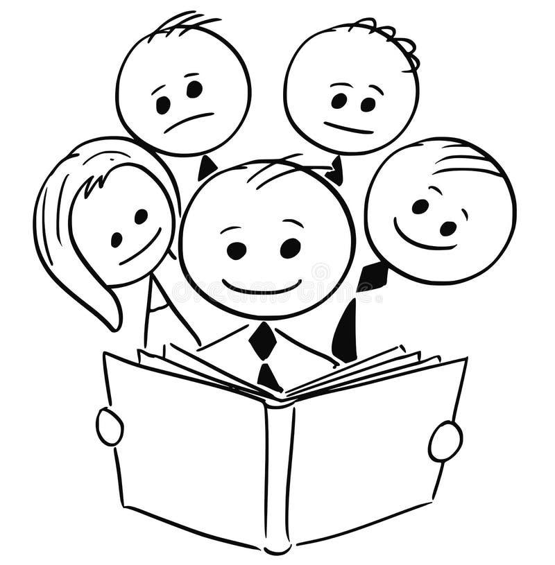 Uomo d'affari sorridente Reading Book e quattro genti di altro settore illustrazione vettoriale