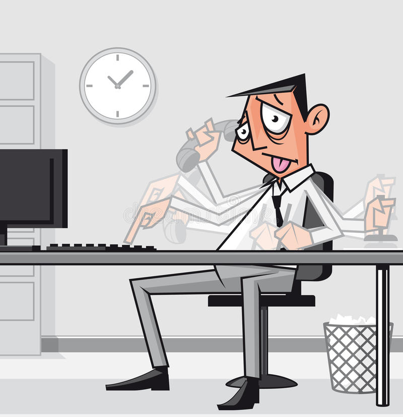 Uomo d'affari sovraccarico sollecitato illustrazione vettoriale