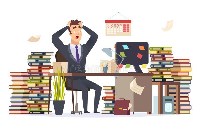 Uomo d'affari sovraccarico Vettore di seduta frustrato Stressed dei documenti di carte del mucchio della tavola dell'ufficio del  illustrazione vettoriale
