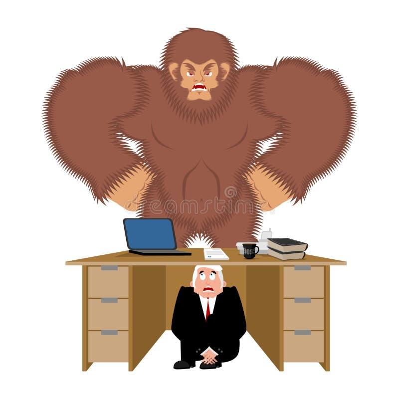 Uomo d'affari spaventato sotto la tavola di Bigfoot per nascondersi da per essere e illustrazione vettoriale