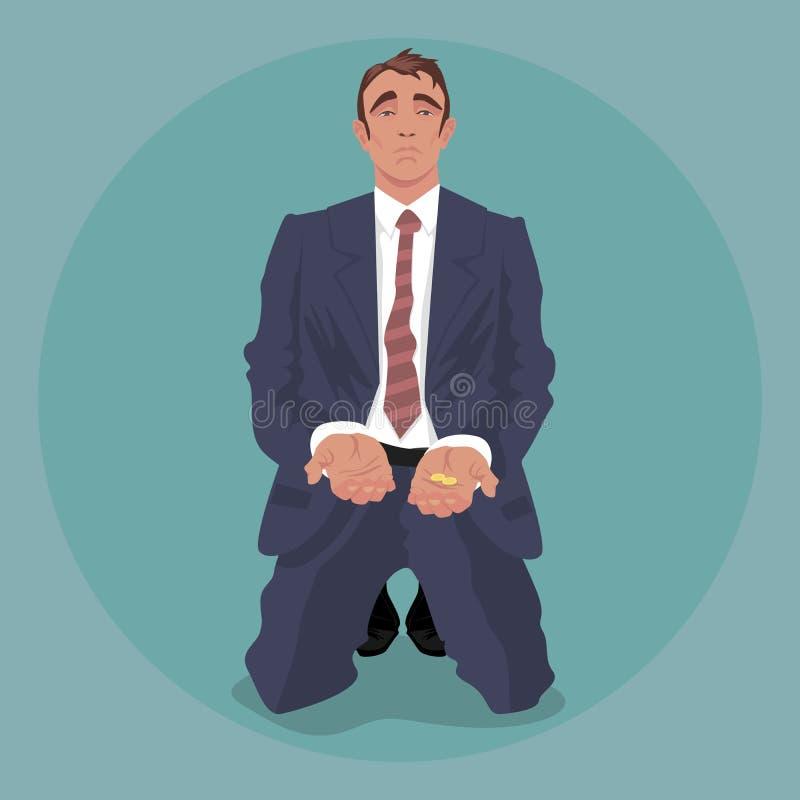 Uomo d'affari stanco che si inginocchia e che elemosina royalty illustrazione gratis