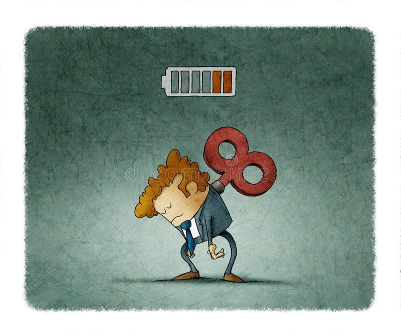 Uomo d'affari stanco con un argano chiave su lei indietro illustrazione di stock