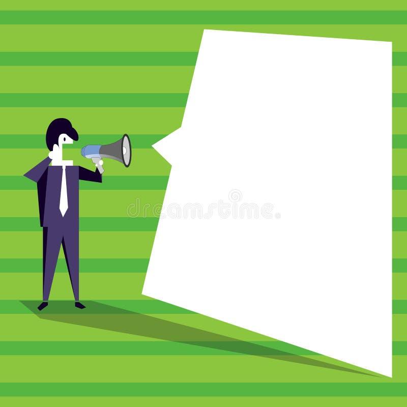 Uomo d'affari Standing e gridare sul megafono con il fumetto in bianco Uomo in megafono della tenuta del vestito con vuoto royalty illustrazione gratis