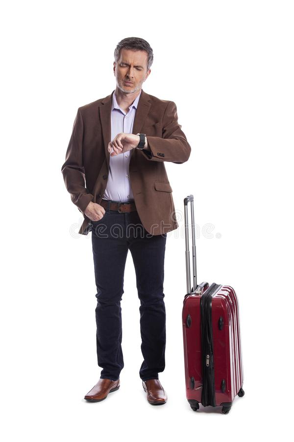Uomo d'affari Stressed al volo recente o annullato per il viaggio di affari fotografia stock libera da diritti
