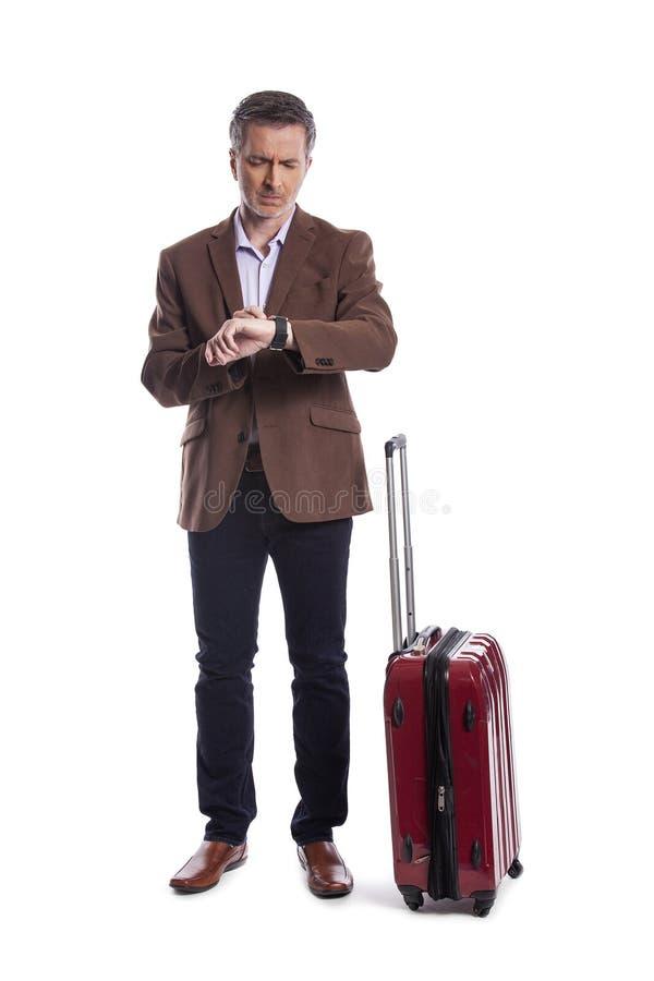 Uomo d'affari Stressed al volo recente o annullato per il viaggio di affari fotografie stock libere da diritti