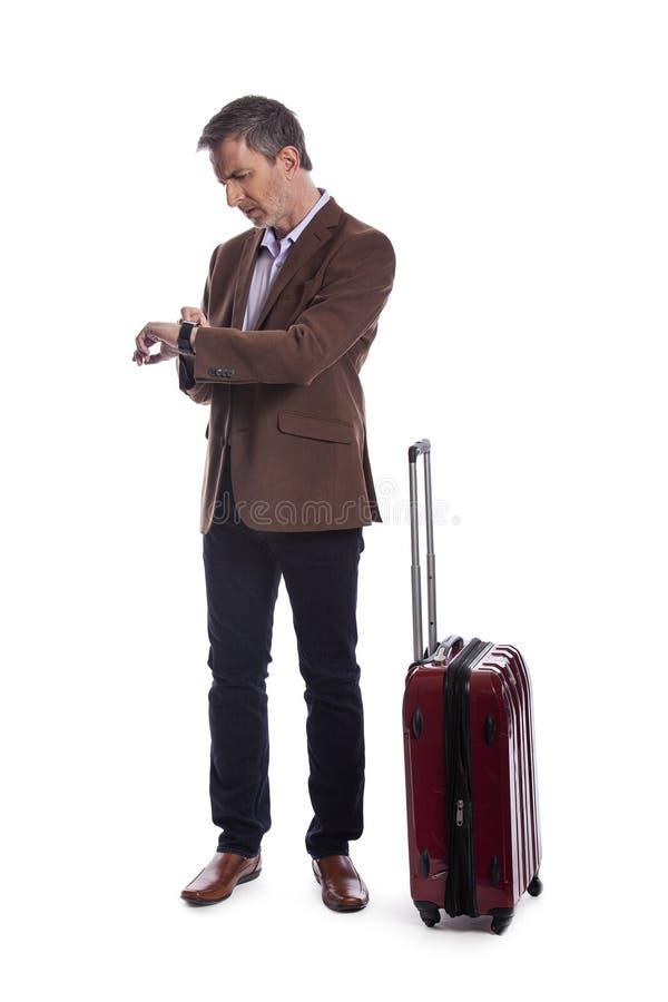Uomo d'affari Stressed al volo recente o annullato per il viaggio di affari immagini stock libere da diritti