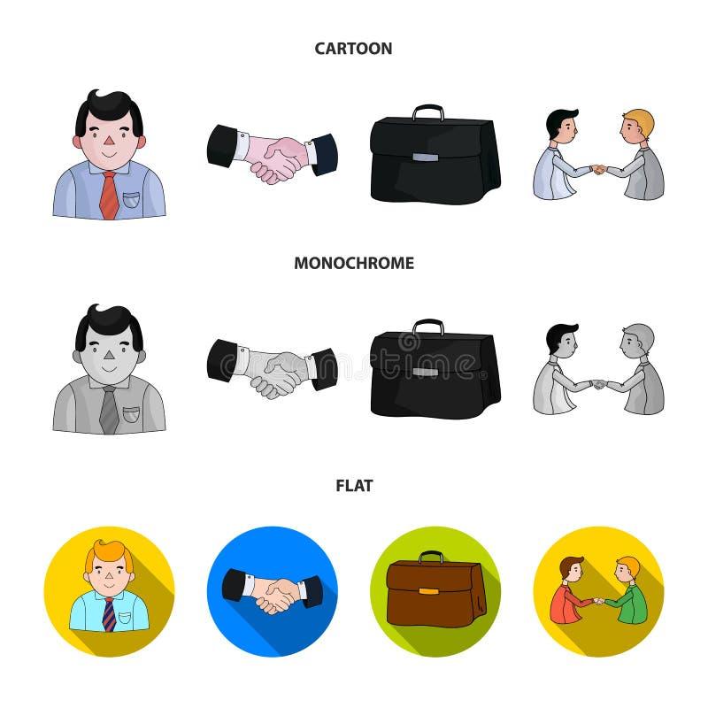 Uomo d'affari, stretta di mano, cartella, accordo L'incontro di affari ed i negoziati hanno messo le icone della raccolta nel fum illustrazione di stock