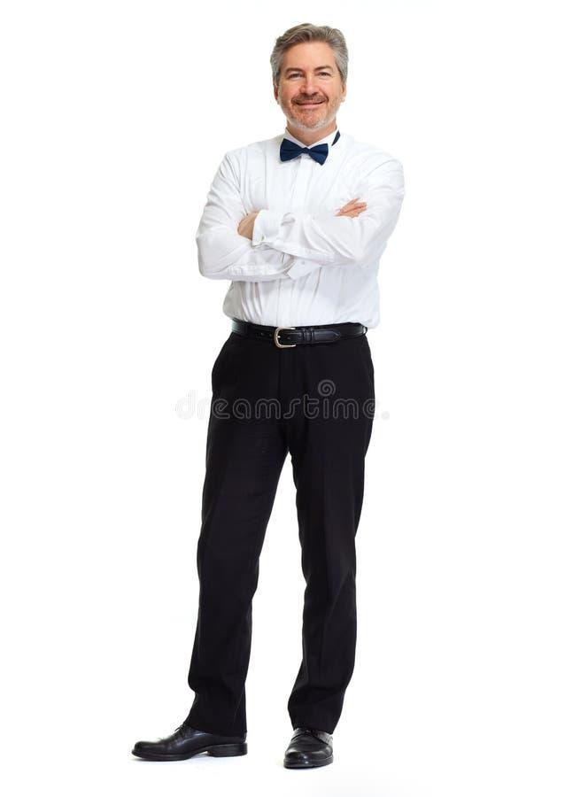 Uomo d'affari su priorità bassa bianca immagini stock