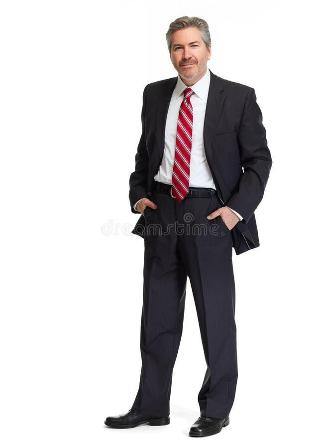 Uomo d'affari su priorità bassa bianca fotografie stock