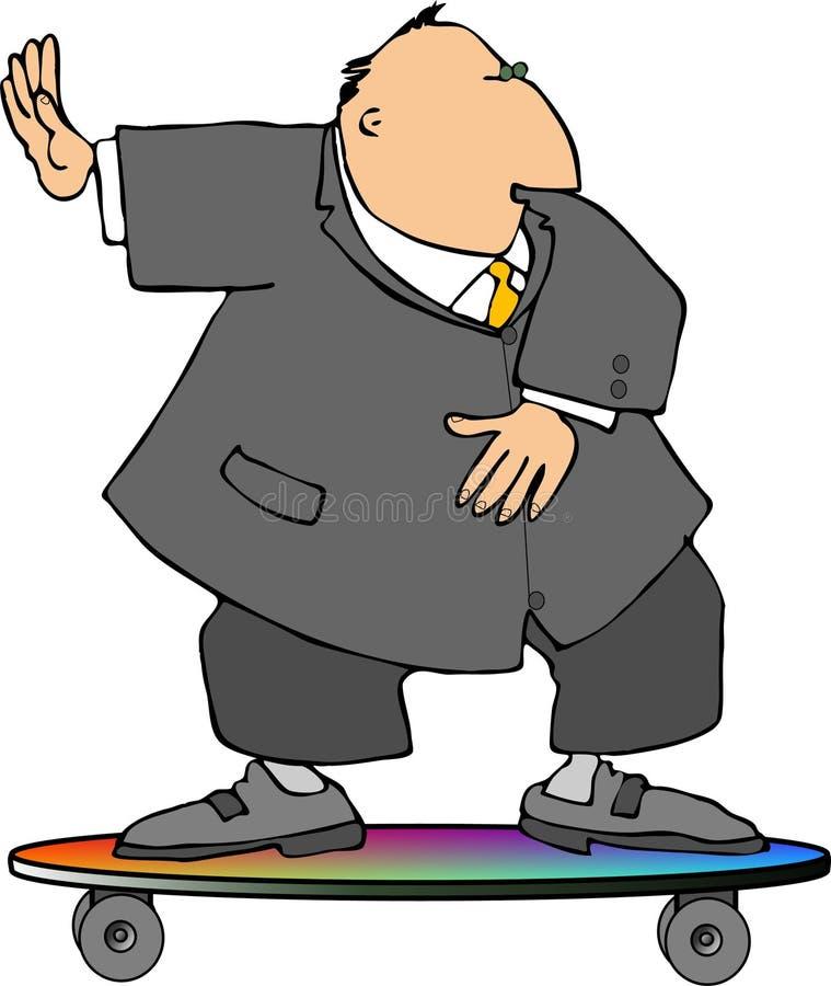 Uomo d'affari su un pattino illustrazione di stock
