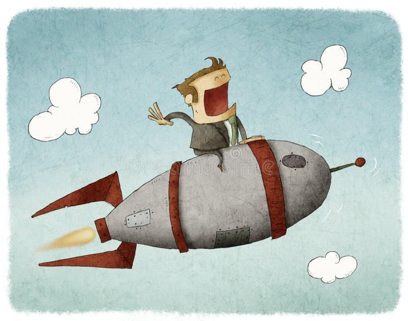 Uomo d'affari su un razzo e su un volo illustrazione di stock