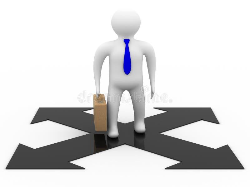 Uomo d'affari su una priorità bassa bianca. illustrazione di stock