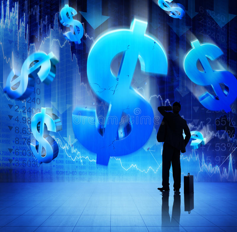 Uomo d'affari sul concetto finanziario di crisi di Fianacial fotografia stock libera da diritti