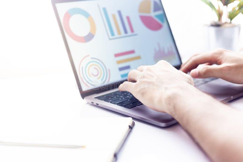 Uomo d'affari sul lavoro sedendosi alla scrivania e scrivere su un computer portatile passano vicino su fotografie stock libere da diritti