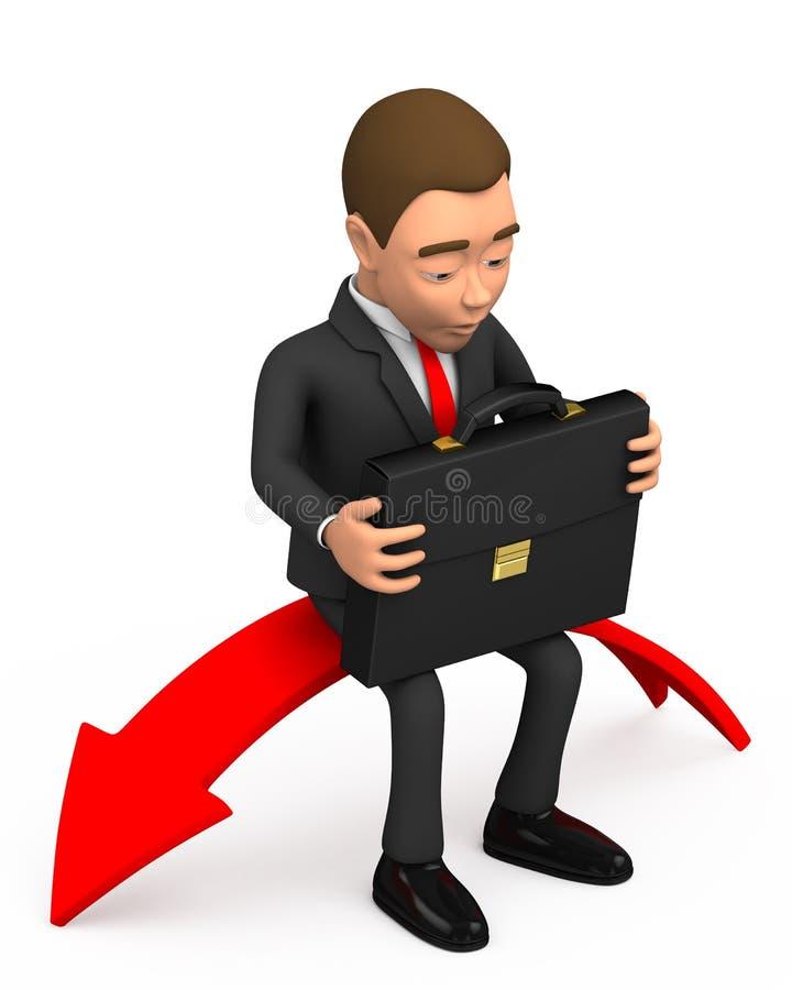Uomo d'affari sulla freccia rossa fotografia stock