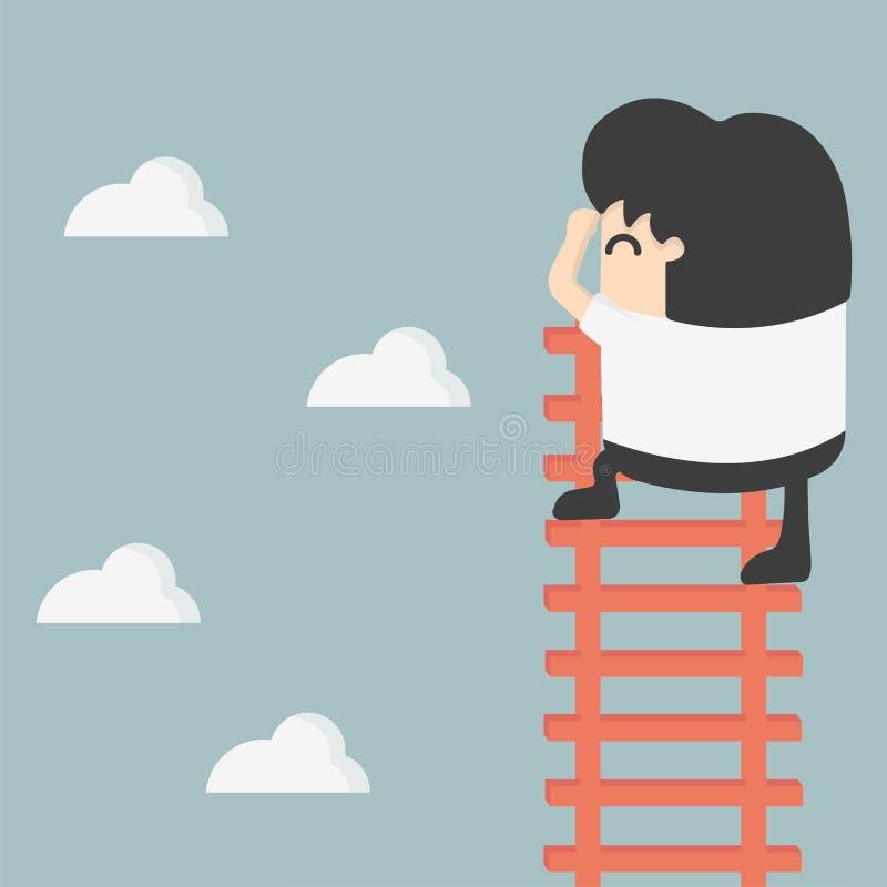 Uomo d'affari sulla scala che cerca successo royalty illustrazione gratis