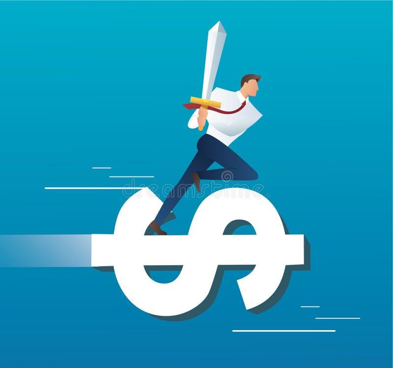 Uomo d'affari sulla spada della tenuta dell'icona del dollaro, illustrazione di vettore di concetto di affari illustrazione di stock