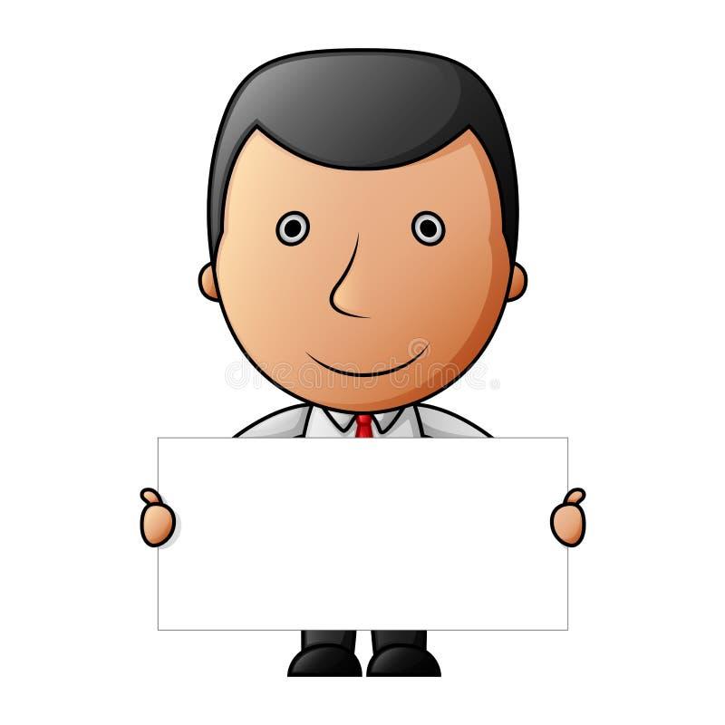 Uomo d'affari sveglio del fumetto che tiene un segno in bianco illustrazione vettoriale