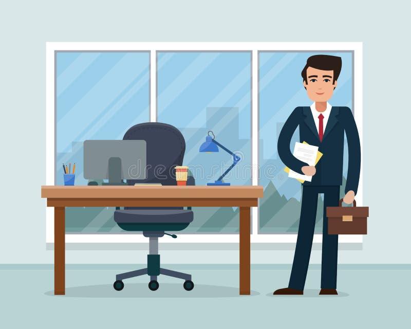 Uomo d'affari in ufficio illustrazione vettoriale