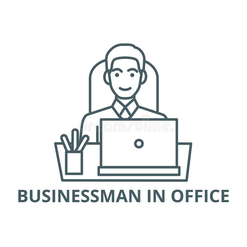 Uomo d'affari in ufficio alla tavola con la linea icona, vettore Uomo d'affari in ufficio alla tavola con il segno del profilo, s illustrazione vettoriale