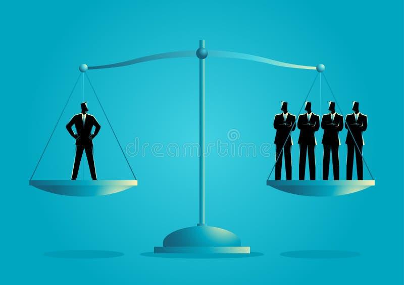 Uomo d'affari uguale come quattro uomini d'affari royalty illustrazione gratis