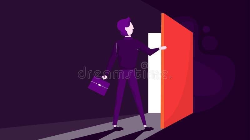 Uomo d'affari in una cartella della tenuta del vestito ed aprire la porta illustrazione di stock