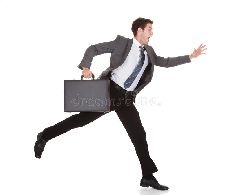Uomo d'affari in una fretta immagine stock libera da diritti