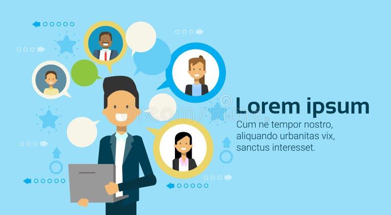 Uomo d'affari Using Laptop Computer che comunica con le persone di affari gruppo, gente di affari di concetto della rete illustrazione vettoriale