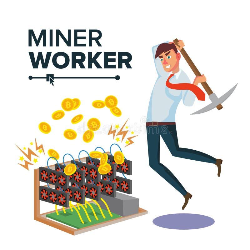 Uomo d'affari Vector del minatore Cryptocurrency e soldi elettronici Scavatura per ottenere le monete virtuali Illustrazione pian illustrazione vettoriale