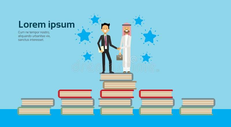 Uomo d'affari in vestito che stringe i vestiti tradizionali dell'uomo arabo delle mani sulla pila di libri, accordo integrale di  royalty illustrazione gratis