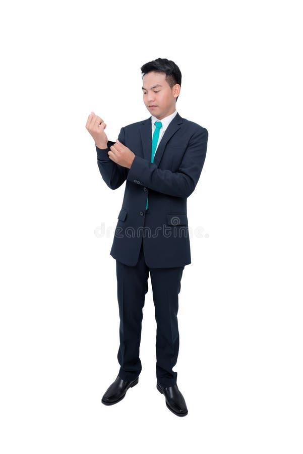 Uomo d'affari in vestito sopra fondo bianco fotografie stock libere da diritti