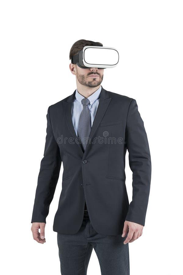 Uomo d'affari in vetri di VR fotografia stock libera da diritti