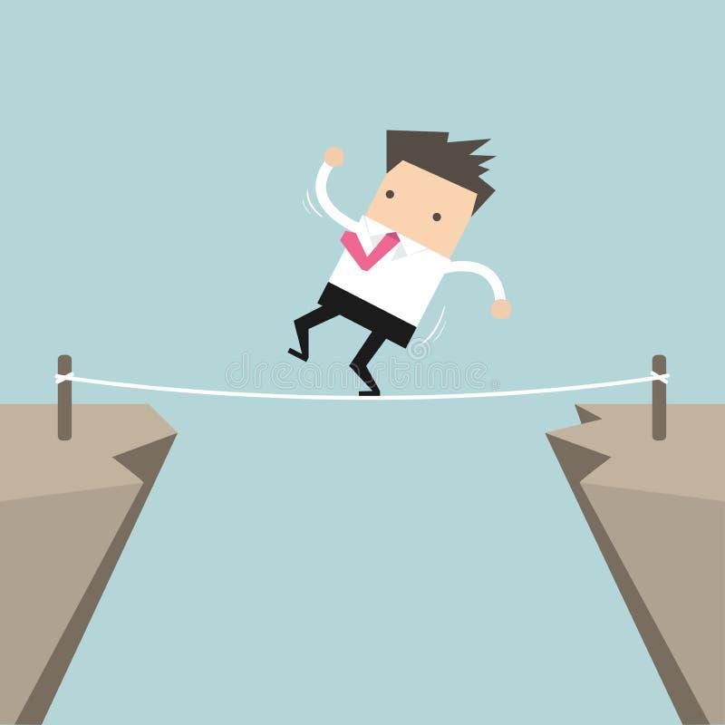 Uomo d'affari Walk Over Cliff Gap Mountain Business Man che equilibra il ponte di legno del bastone royalty illustrazione gratis
