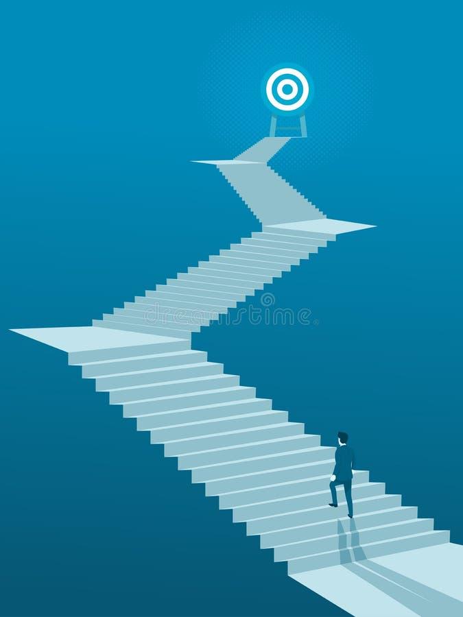 Uomo d'affari Walking sulle scale allo scopo illustrazione di stock