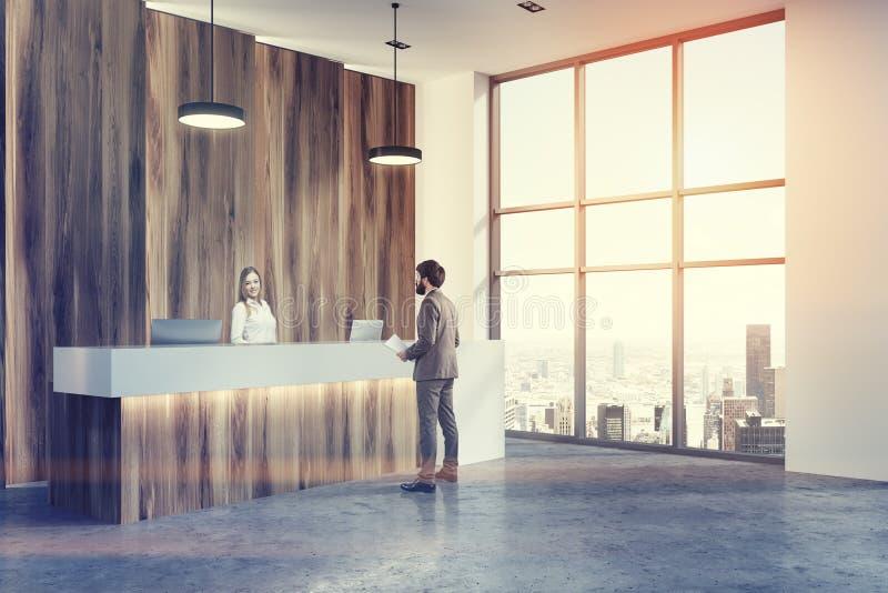 Ufficio Bianco E Legno : Uomo d angolo di ricezione dell ingresso di legno e bianco dell