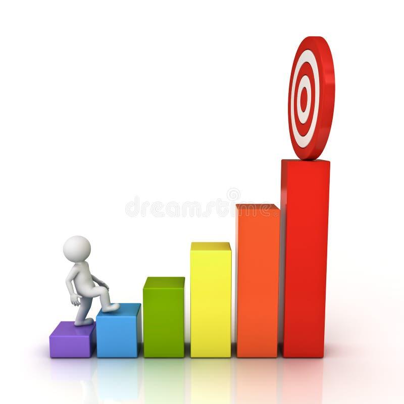 uomo 3d che aumenta al suo riuscito obiettivo di scopo sopra il grafico commerciale royalty illustrazione gratis