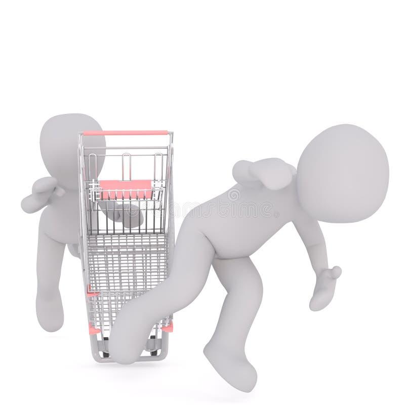 uomo 3D che cade fuori carrello illustrazione di stock