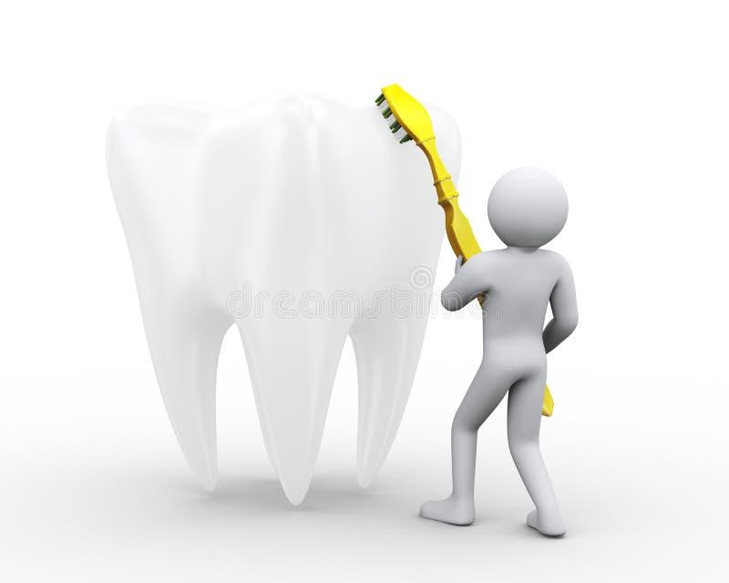 uomo 3d che pulisce un grande dente royalty illustrazione gratis