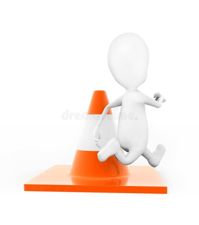 uomo 3d che salta sopra il concetto del cono di traffico illustrazione di stock