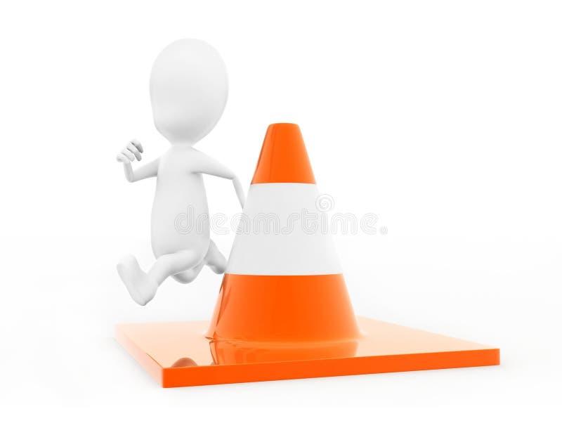 uomo 3d che salta sopra il concetto del cono di traffico illustrazione vettoriale
