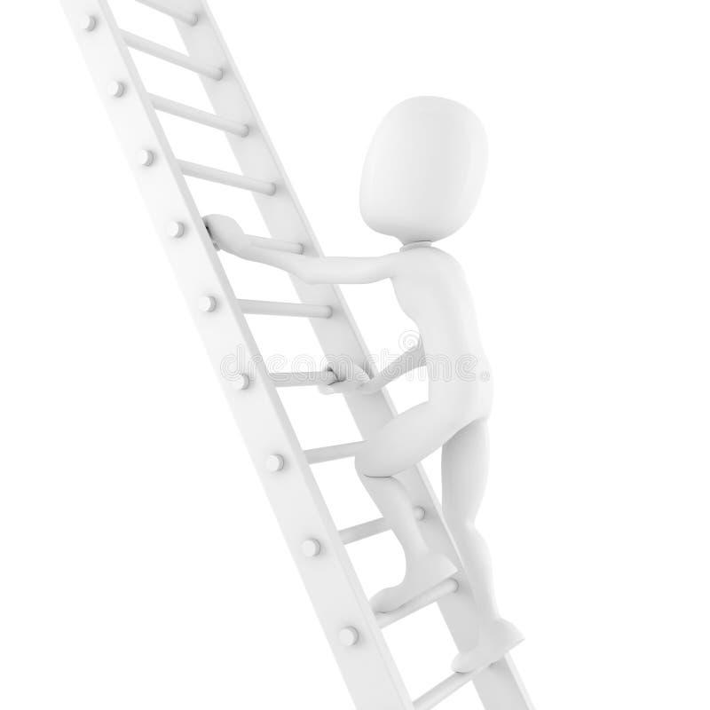 uomo 3d che scala su una scala illustrazione di stock