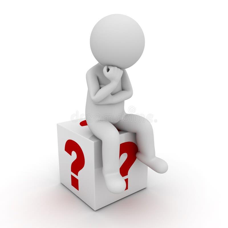 uomo 3d che si siede e che pensa sulla scatola rossa dei punti interrogativi sopra bianco royalty illustrazione gratis