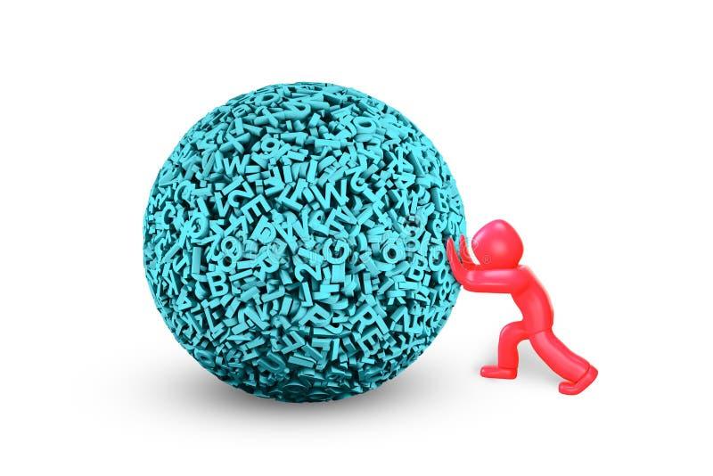uomo 3D che spinge la grande palla di dati illustrazione 3D royalty illustrazione gratis
