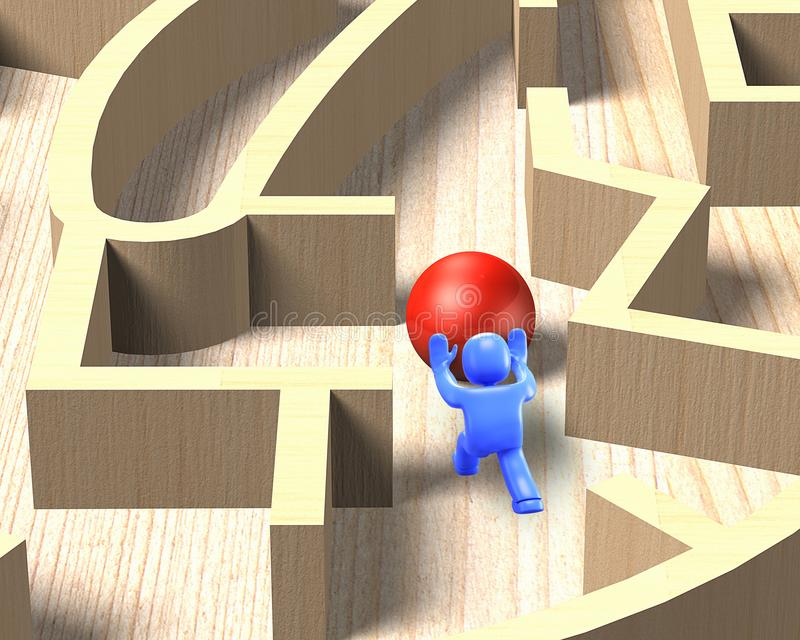 uomo 3d che spinge palla nel gioco di legno del labirinto, illustrazione 3D illustrazione vettoriale